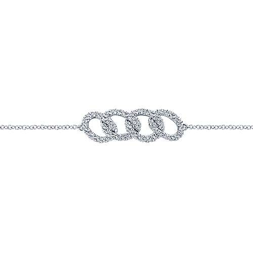 14k White Gold Lusso Diamond Chain Bracelet angle 2