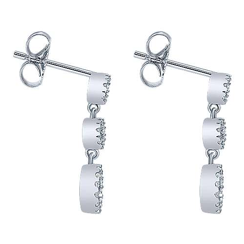 14k White Gold Lusso Diamond Drop Earrings angle 3