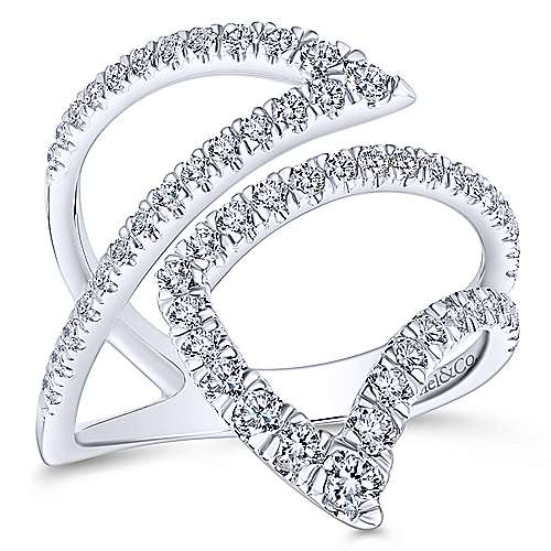 14k White Gold Lusso Diamond Fashion Ladies' Ring angle 4