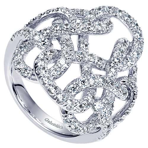 14k White Gold Lusso Diamond Fashion Ladies' Ring angle 3