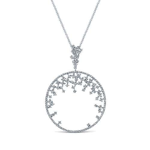 14k White Gold Lusso Diamond Medallion Necklace angle 1