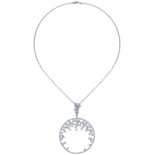 14k White Gold Lusso Diamond Medallion Necklace angle 2