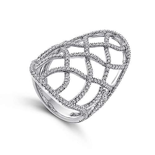 14k White Gold Lusso Diamond Statement Ladies' Ring angle 3