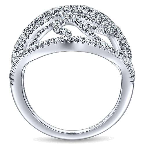14k White Gold Lusso Diamond Statement Ladies' Ring angle 2