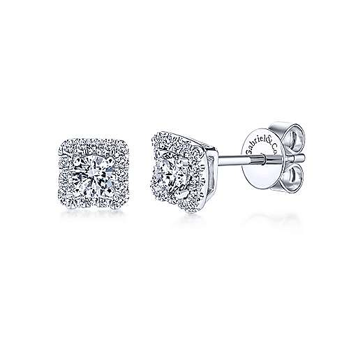 Gabriel - 14k White Gold Lusso Diamond Stud Earrings