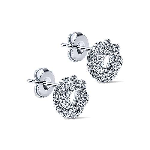 14k White Gold Lusso Diamond Stud Earrings angle 2