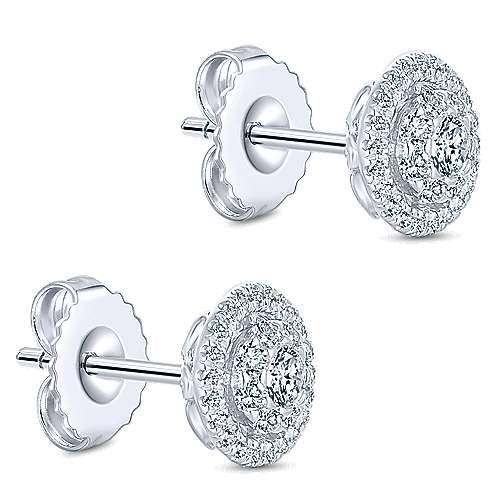 14k White Gold Lusso Diamond Stud Earrings angle 3