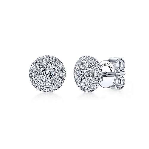 14k White Gold Lusso Diamond Stud Earrings angle 1