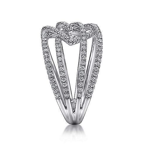 14k White Gold Lusso Diamond Wide Band Ladies