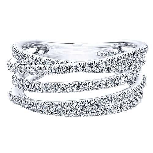 Gabriel - 14k White Gold Lusso Diamond Wide Band Ladies' Ring