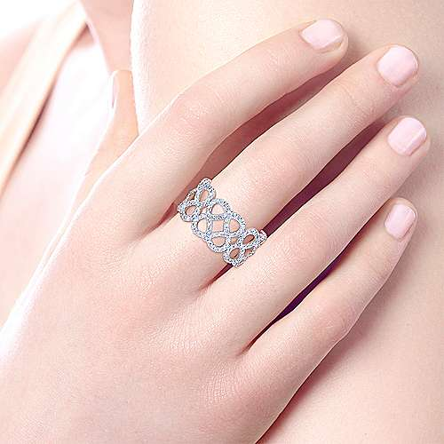 14k White Gold Lusso Diamond Wide Band Ladies' Ring angle 5