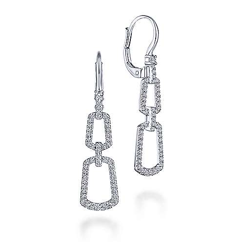 14k White Gold Lusso Drop Earrings angle 1