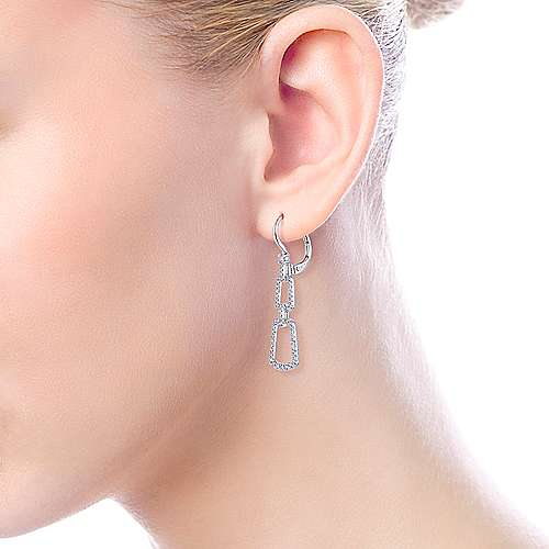 14k White Gold Lusso Drop Earrings angle 4