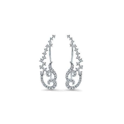 14k White Gold Lusso Ear Climber Earrings