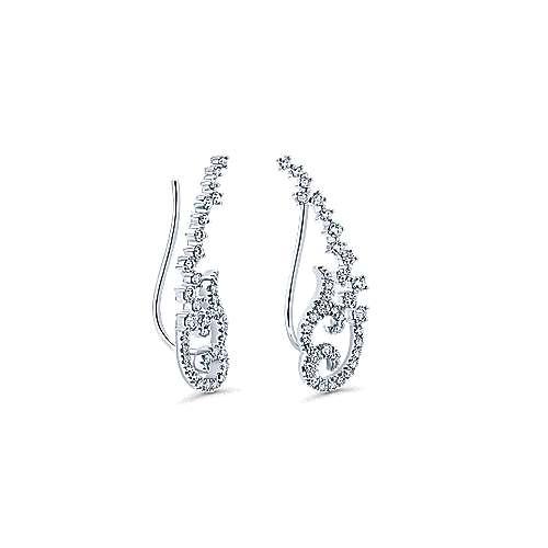 14k White Gold Lusso Ear Climber Earrings angle 2