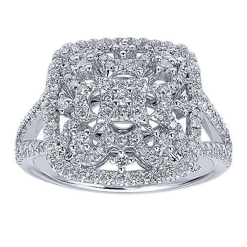 14k White Gold Lusso Fashion Ladies' Ring angle 4