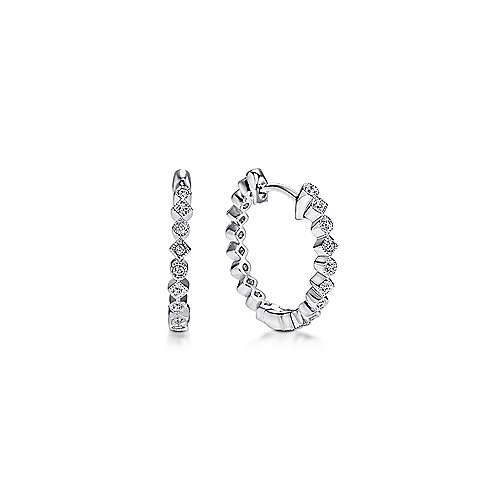 14k White Gold Lusso Huggie Earrings angle 1