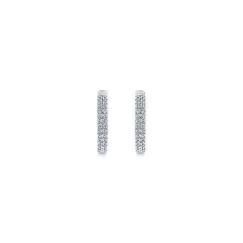 14k White Gold Lusso Huggie Earrings angle 3