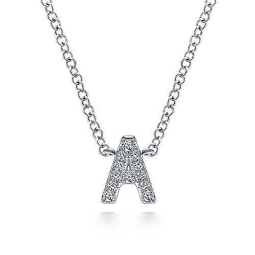 14k White Gold Lusso Initial Necklace angle 1