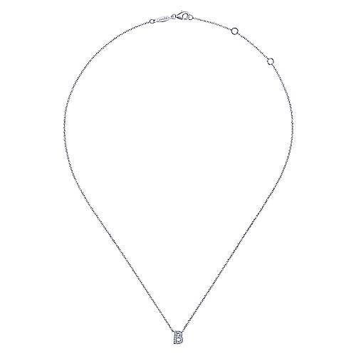 14k White Gold Lusso Initial Necklace angle 2