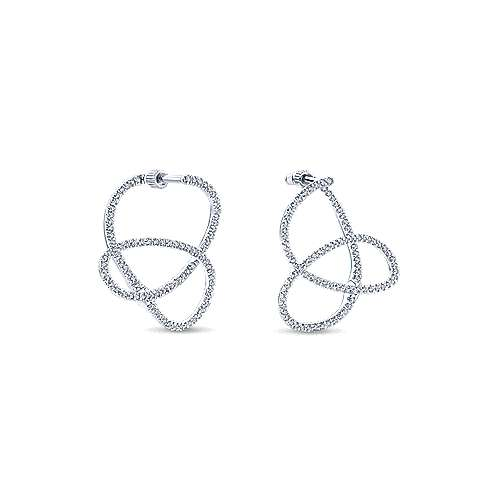 14k White Gold Lusso Intricate Hoop Earrings angle 3