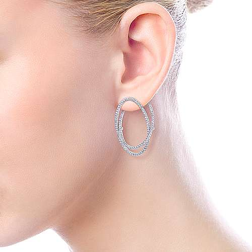 14k White Gold Lusso Intricate Hoop Earrings angle 4