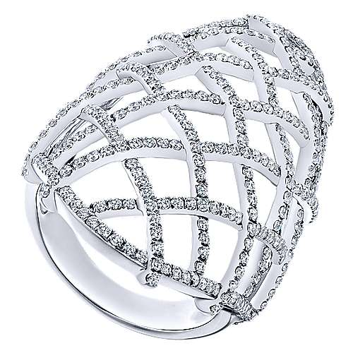 14k White Gold Lusso Statement Ladies' Ring angle 3