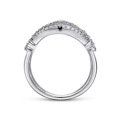 14k White Gold Lusso Statement Ladies' Ring angle 2