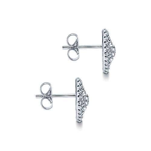 14k White Gold Lusso Stud Earrings angle 3