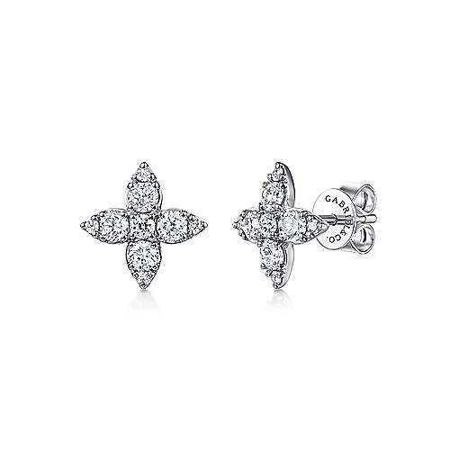 14k White Gold Lusso Stud Earrings