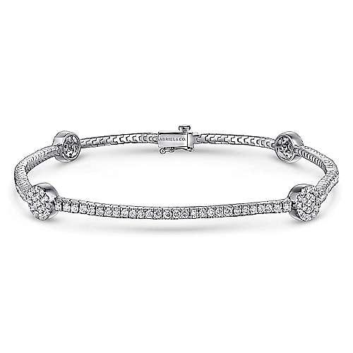 14k White Gold Lusso Tennis Bracelet angle 1