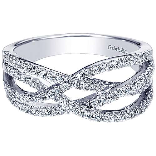 Gabriel - 14k White Gold Lusso Twisted Ladies Ring