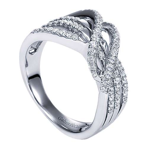 14k White Gold Lusso Twisted Ladies' Ring angle 3