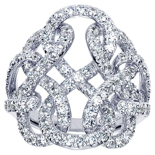 14k White Gold Lusso Twisted Ladies' Ring angle 5