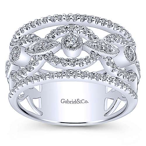 14k White Gold Lusso Wide Band Ladies' Ring angle 4