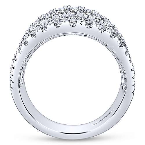 14k White Gold Lusso Wide Band Ladies' Ring angle 2