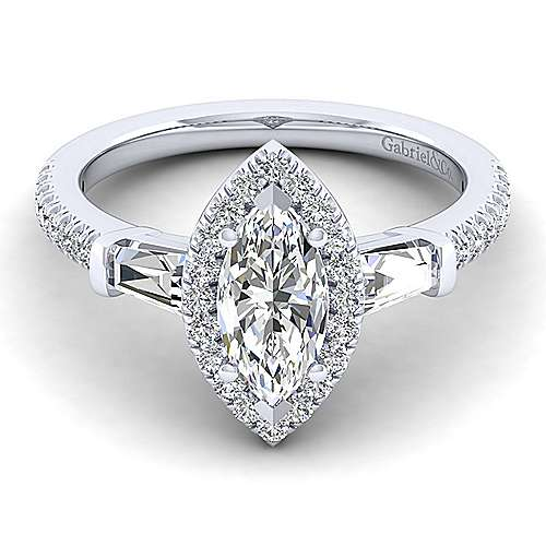 Gabriel - 14k White Gold Marquise  3 Stones Halo Engagement Ring