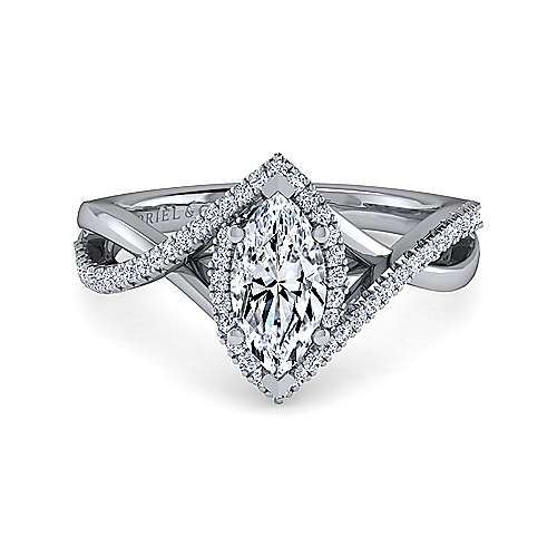 Gabriel - 14k White Gold Marquise  Criss Cross Engagement Ring