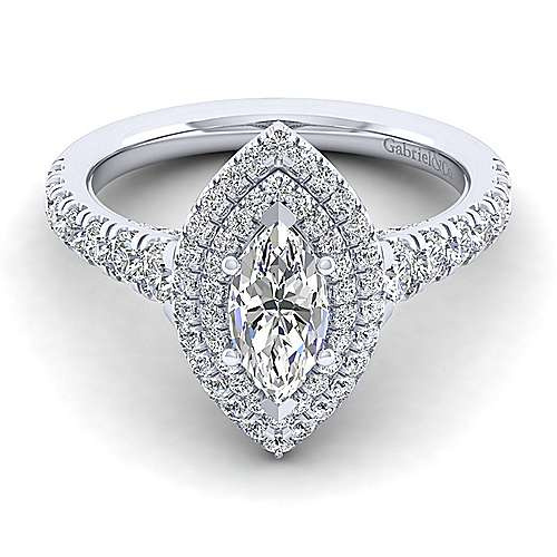 Gabriel - 14k White Gold Marquise  Double Halo Engagement Ring