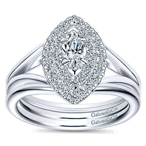 14k White Gold Marquise  Double Halo Engagement Ring