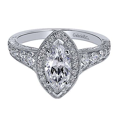 14k White Gold Marquise  Halo Engagement Ring angle 1