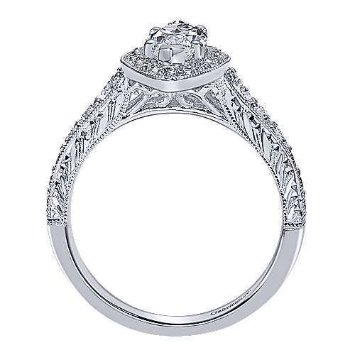 14k White Gold Marquise  Halo Engagement Ring angle 2