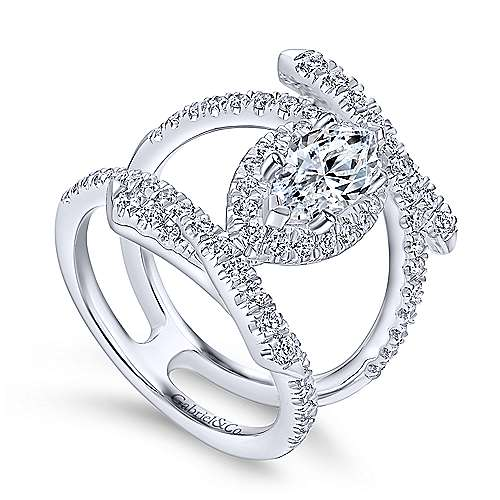 14k White Gold Marquise  Halo Engagement Ring angle 3