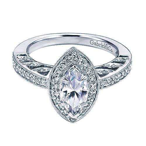 Vintage 14k White Gold Marquise  Halo