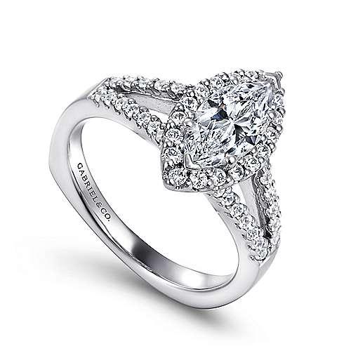 14k White Gold Marquise  Halo Engagement Ring angle 3
