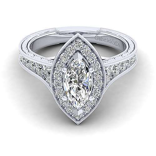 Gabriel - 14k White Gold Marquise  Halo Engagement Ring
