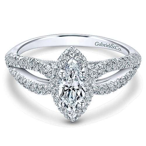 14k White Gold Marquise  Halo