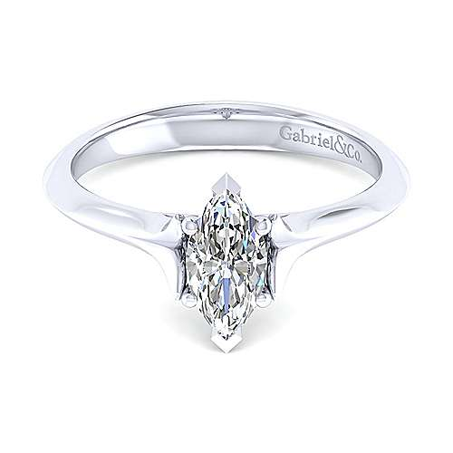 14k White Gold Marquise  Solitaire Engagement Ring angle 1