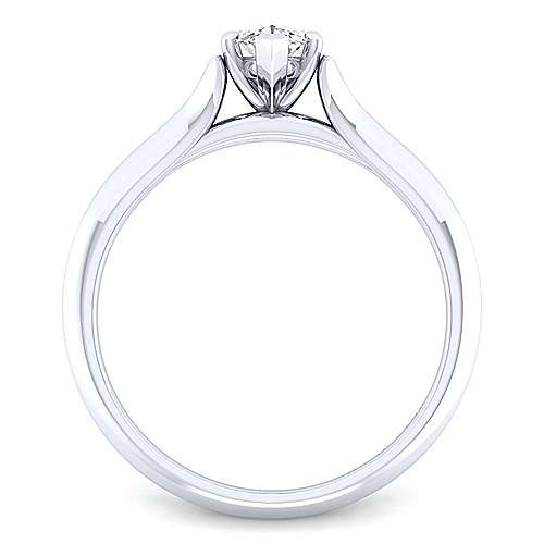14k White Gold Marquise  Solitaire Engagement Ring angle 2