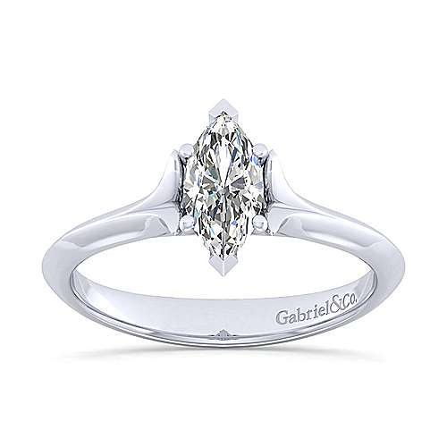 14k White Gold Marquise  Solitaire Engagement Ring angle 5